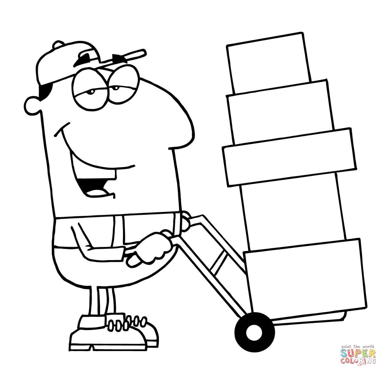 Construction Worker With Hammer And Tool Box Coloring Page | Free ...