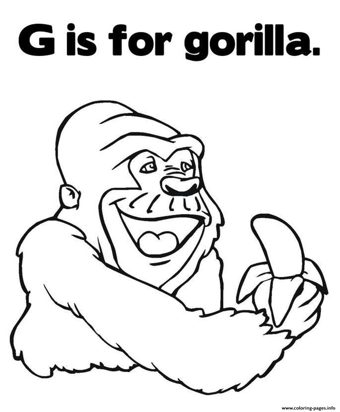 Printable coloring pages gorilla - Print Coloring Pages Alphabet G Is For Gorilla Animal67ce Coloring