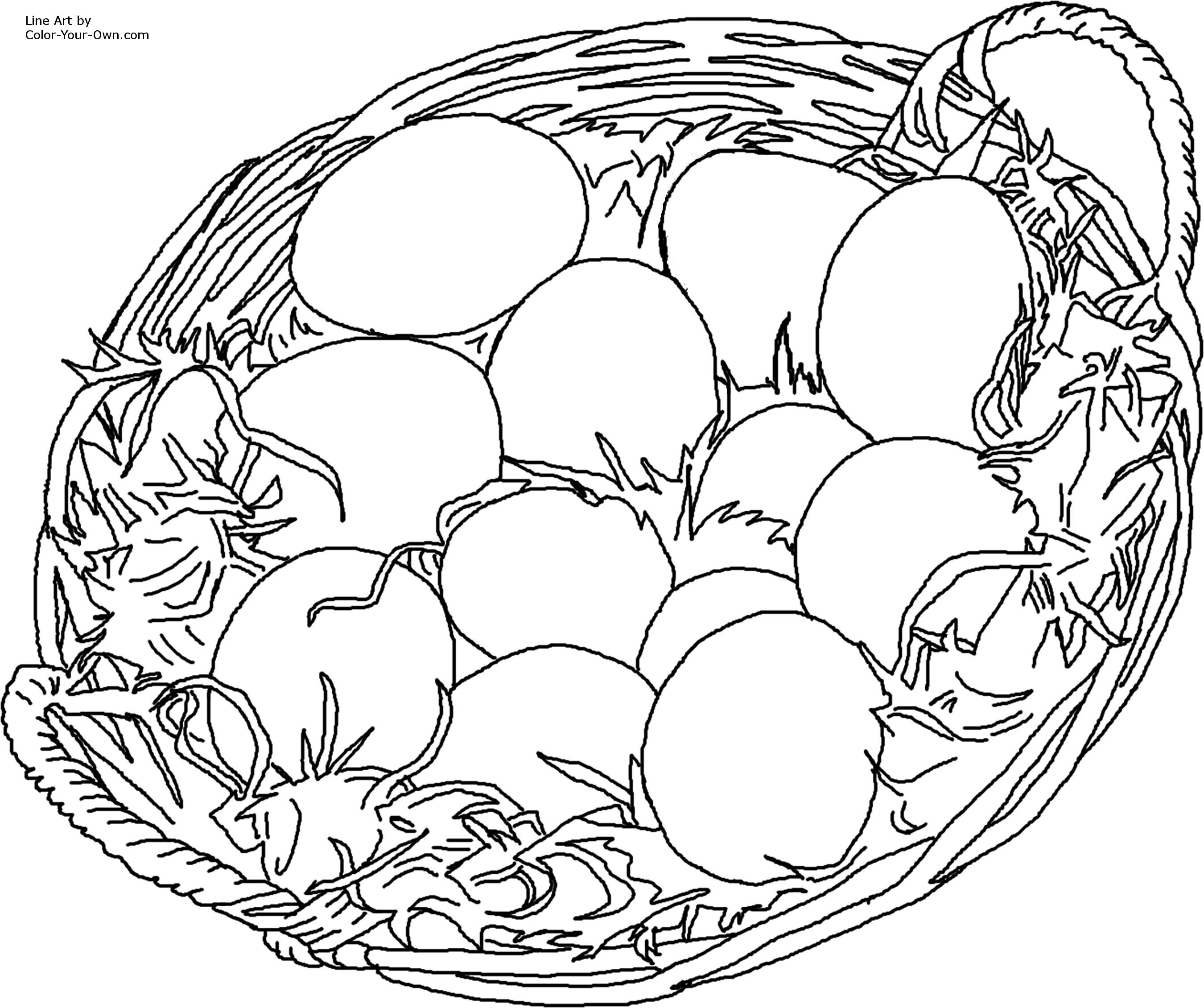 Free coloring pages chickens - Easter Eggs In Basket Coloring Page