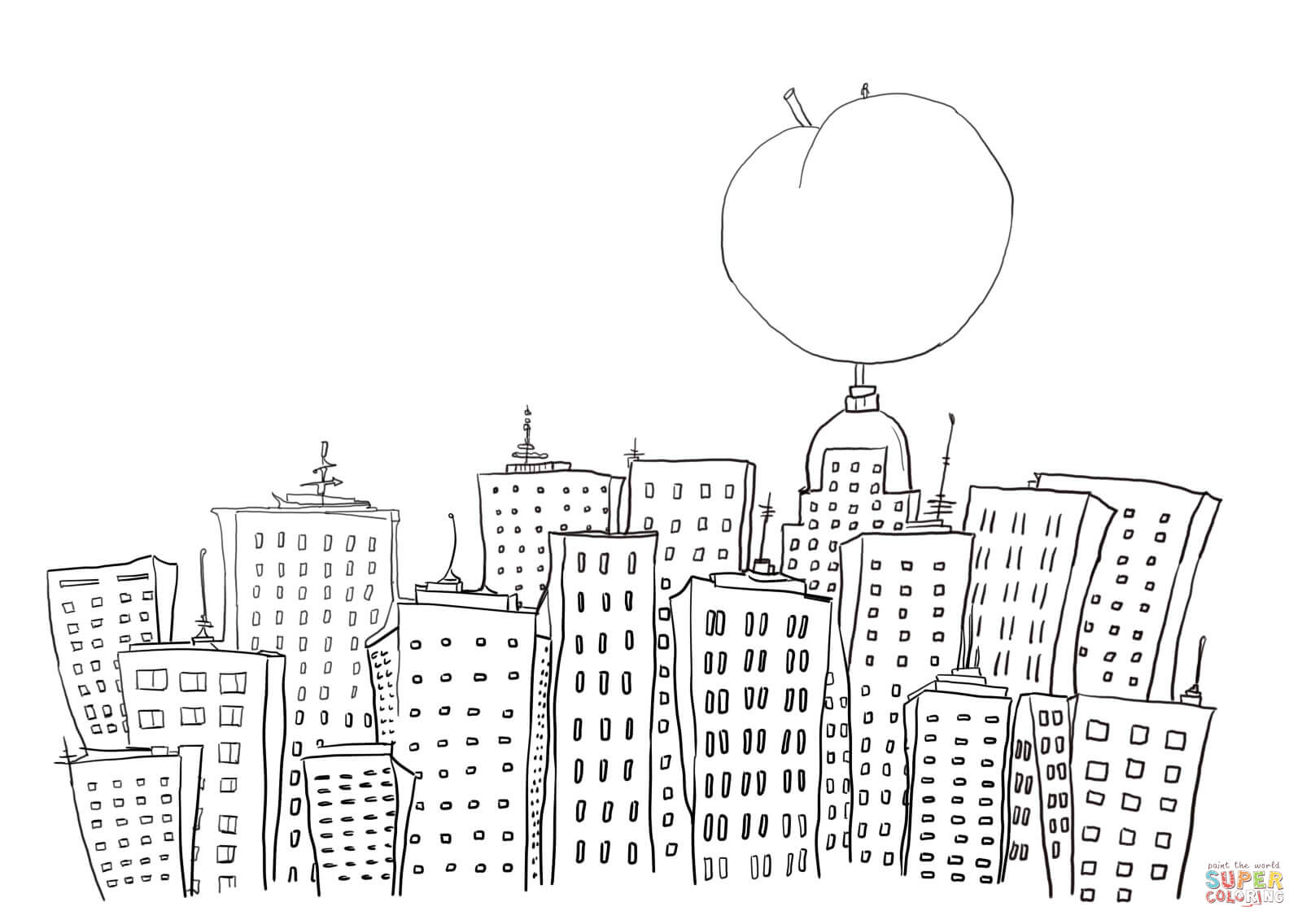 Free coloring pages new york city - James And The Giant Peach In New York Coloring Page Free