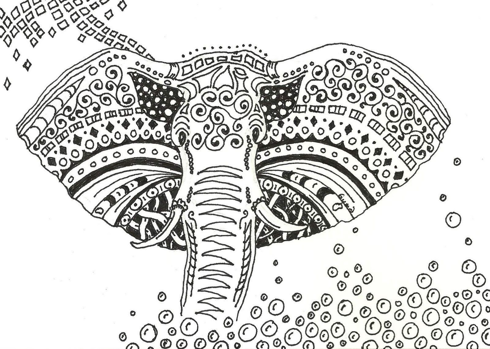 printable tribal elephant coloring pages - photo#24