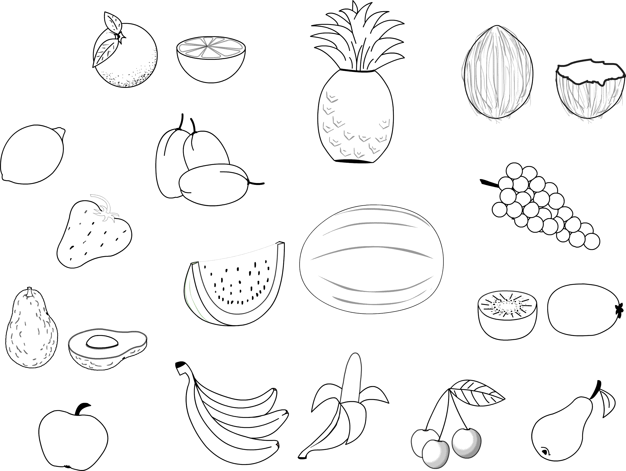 Free Coloring Pages Fruit  Coloring Home