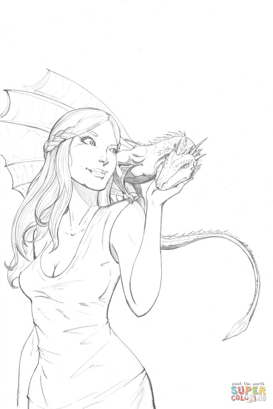 Daenerys Targaryen from Game of Thrones coloring page | Free ...