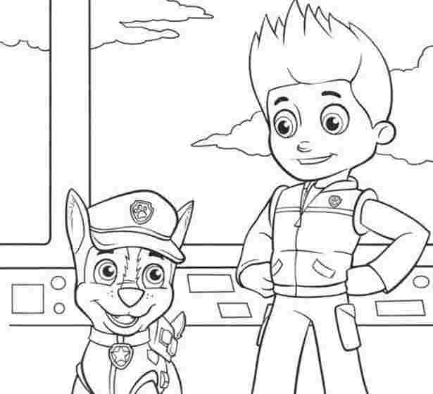 paw patrol ryder and chase coloring pages paw patrol coloring ...