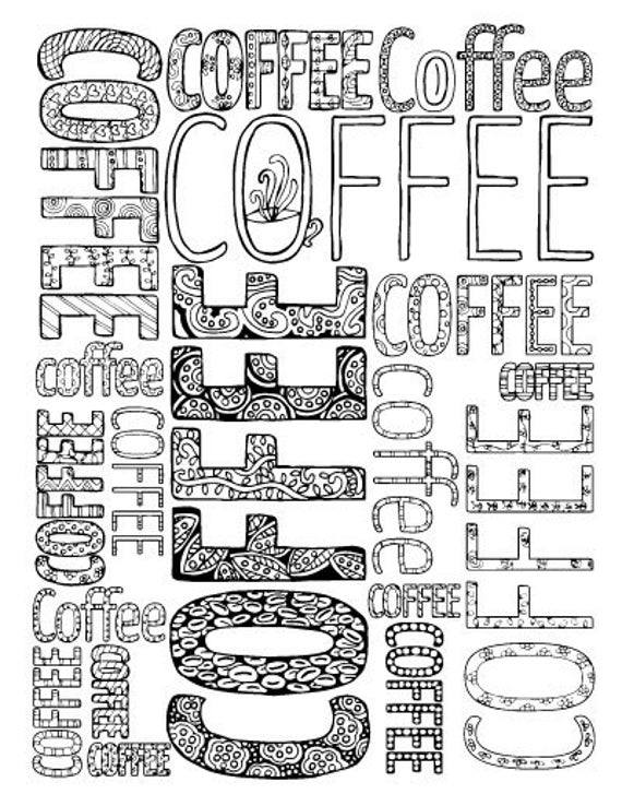 Adult Coloring Pages - 5 Printable Detailed Coffee Colouring Sheets For  Grown-ups - Digital Download - Coloring Home