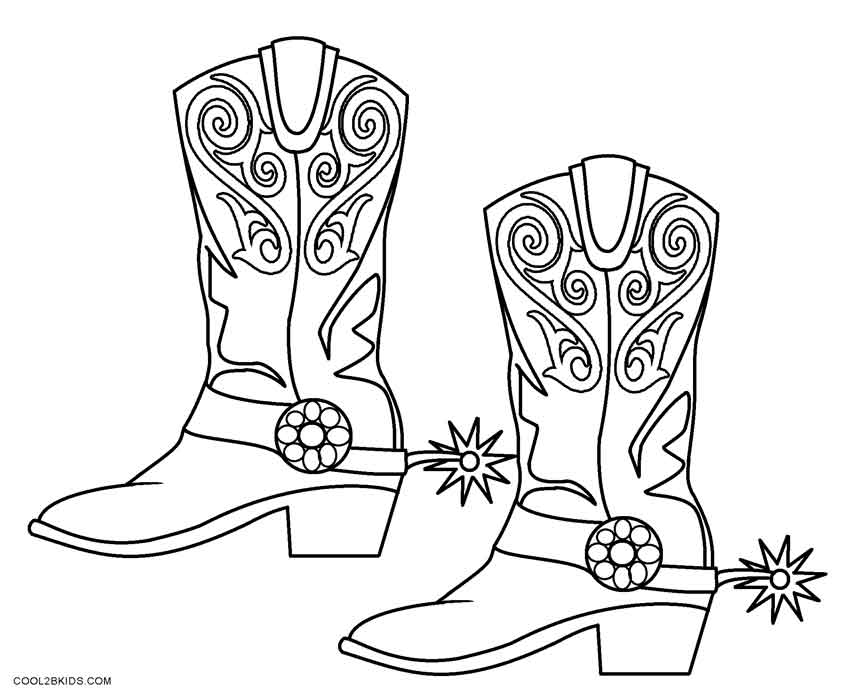 Cowboy Boots Coloring Page Coloring Pages Pictures Imagixs ...