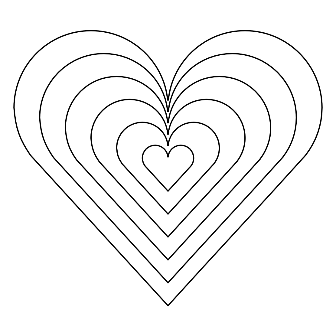 Rainbow Heart Coloring Pages