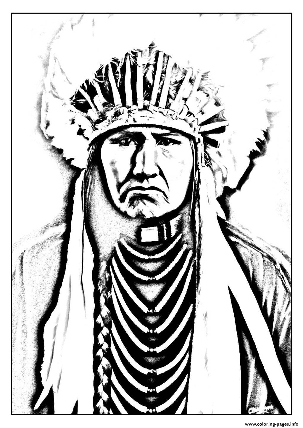 Print adult native american indian Coloring pages