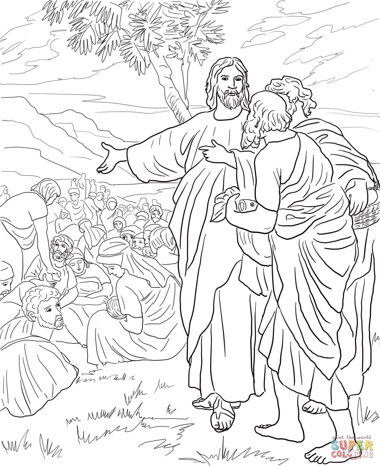 Jesus Feeds The Multitude With Fish And Bread Coloring Page