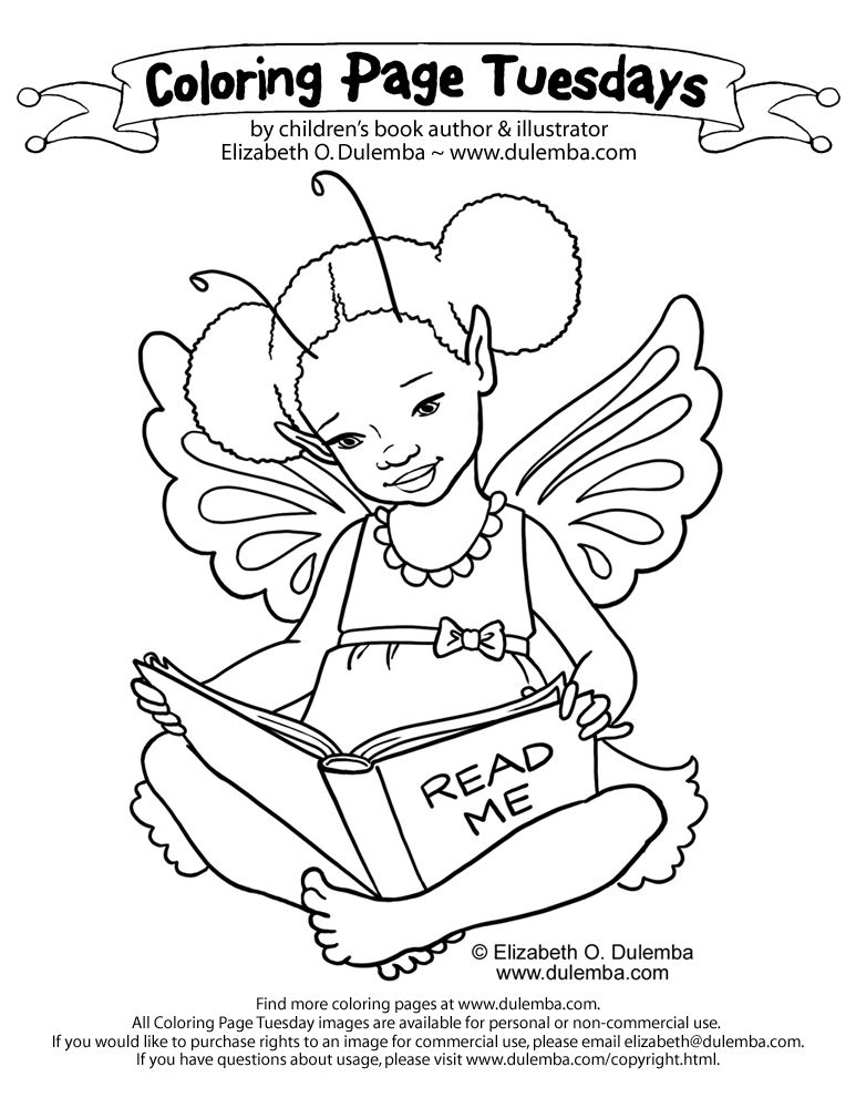 dulemba: Coloring Page Tuesday - Another Reading Fairy!