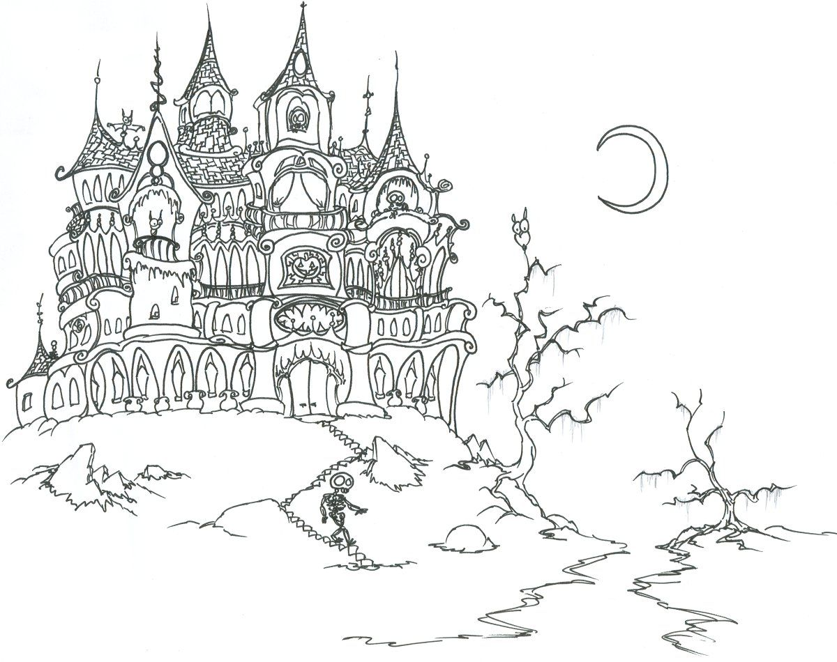 Coloring pages a haunted house with skeletons bluebison net