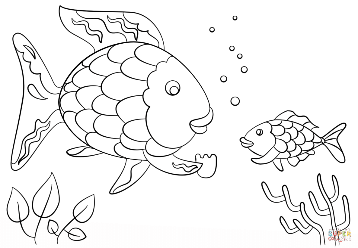 Rainbow Fish Gives A Precious Scale To Small Fish Coloring Page