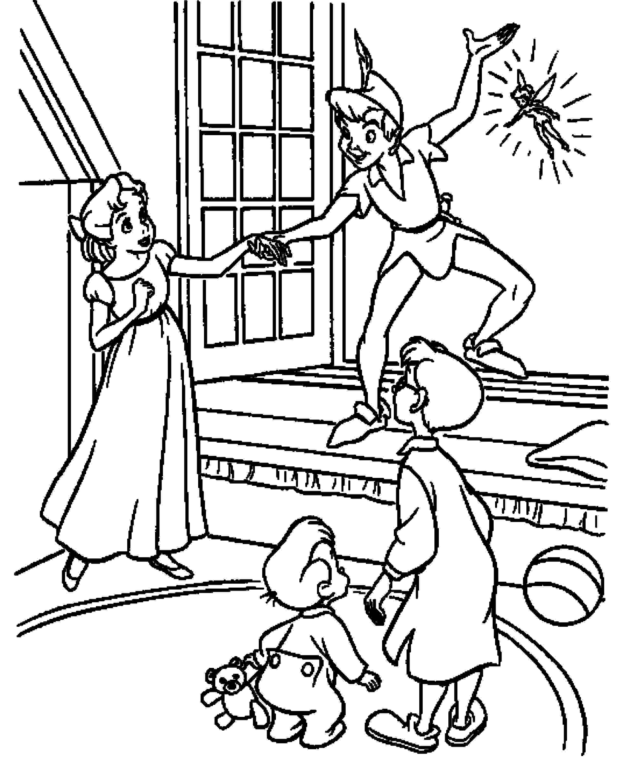 Peter Pan Flying Coloring Pages Printable Kids Colouring Pages