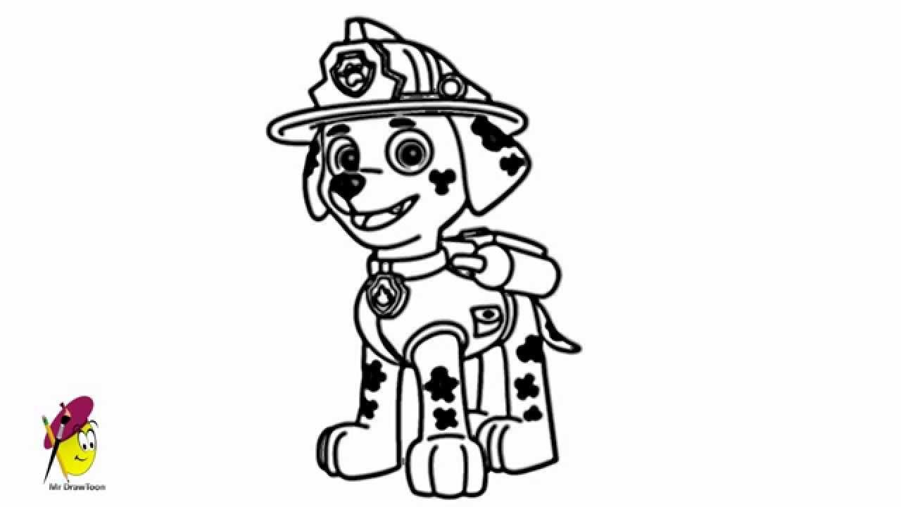 Paw Patrol Ausmalbilder Marshall : Paw Patrol Coloring Pages Marshall And Firetruck Coloring Home