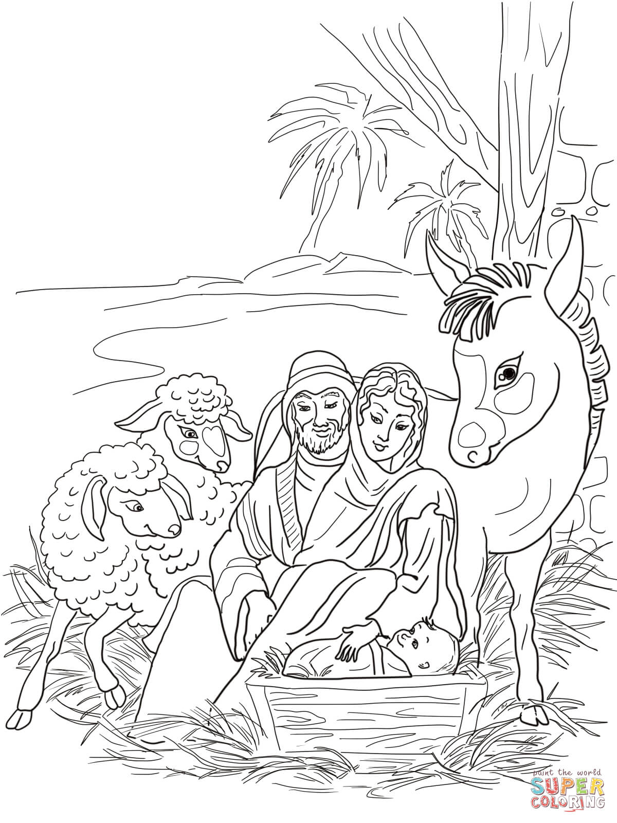 nativity animal coloring pages - photo#14
