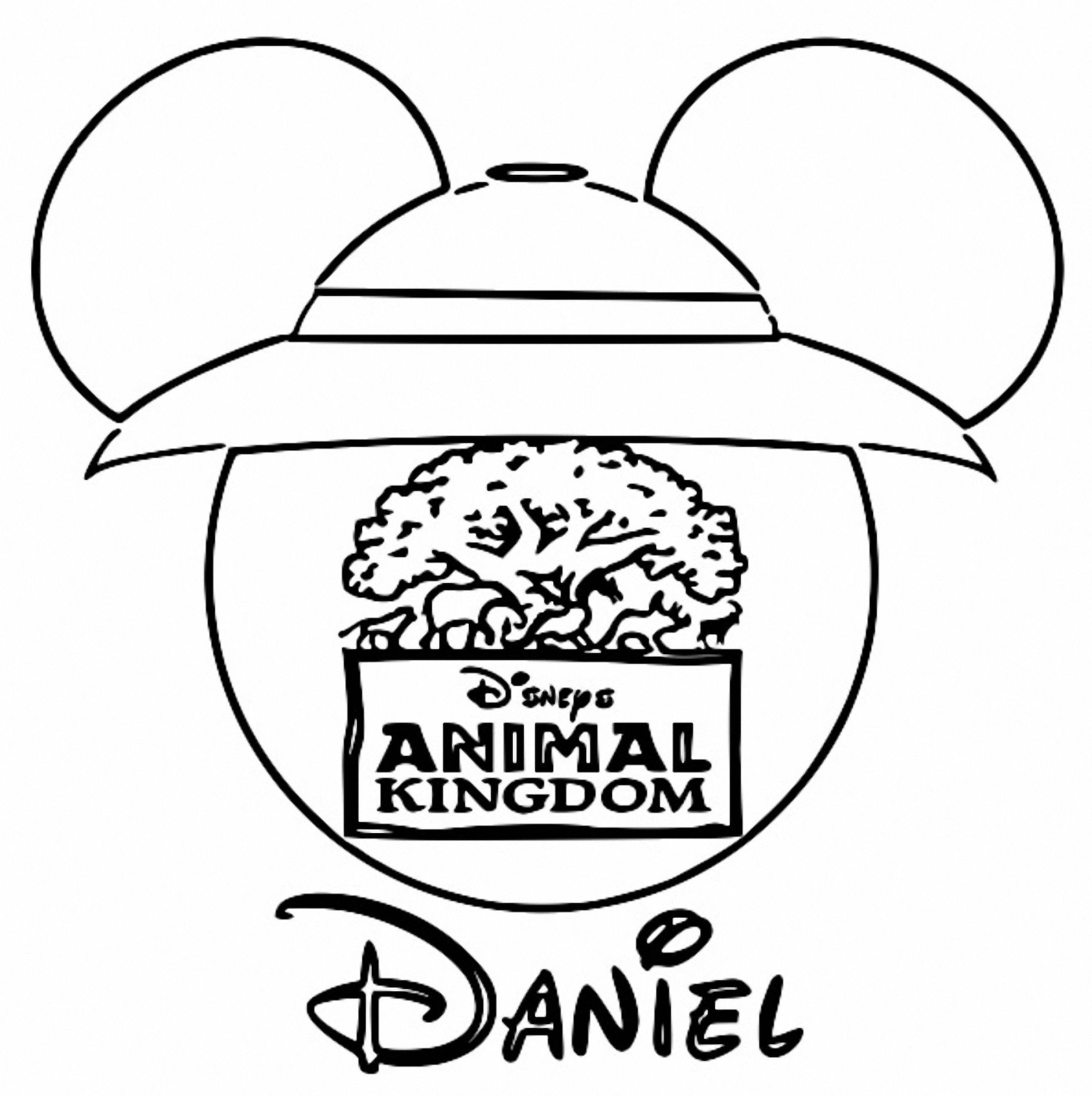 Animal Kingdom Mickey Face Silhouette Coloring Page ...