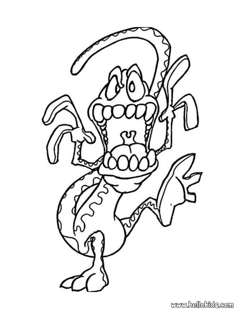 HALLOWEEN MONSTERS Coloring Pages - Lizard Monster ...