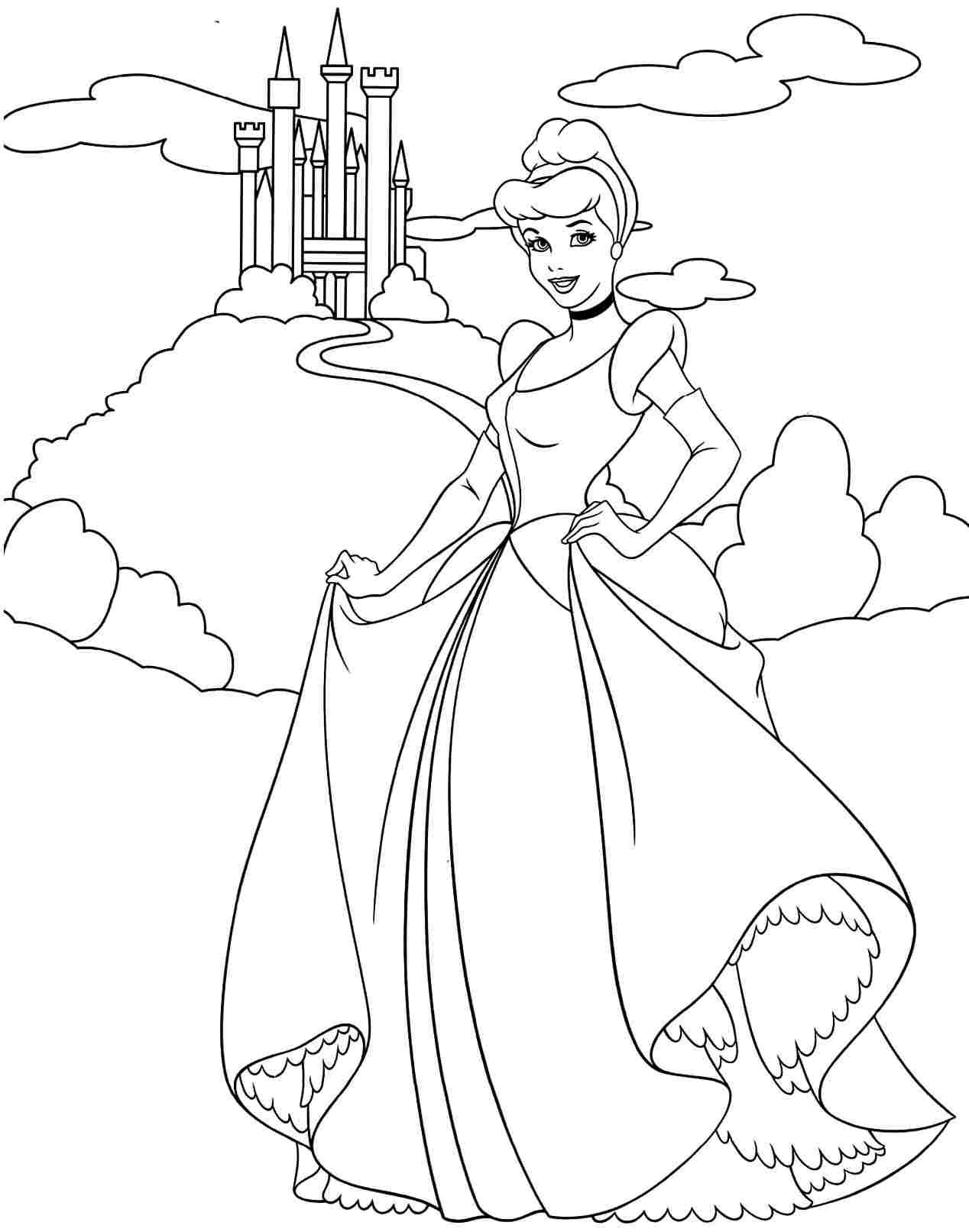 cartoon printable disney princess coloring pages cinderella