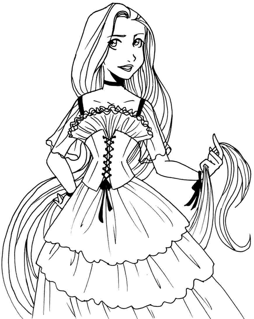 Princess Rapunzel Coloring Pages Face
