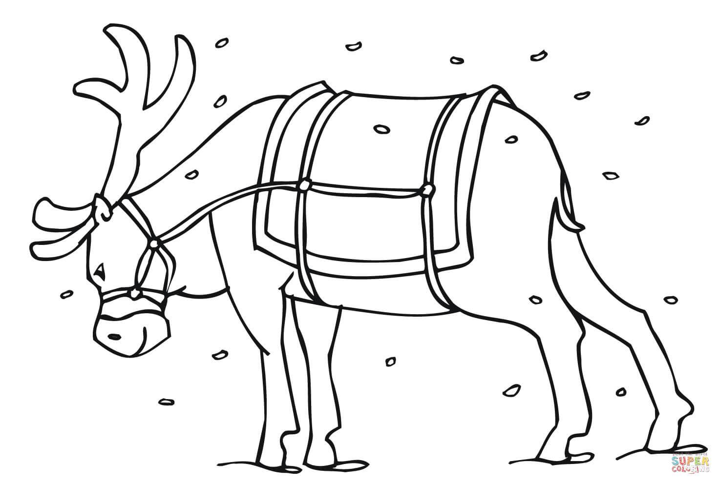 Reindeer Coloring Pages Pdf : Santa s reindeer coloring page free printable