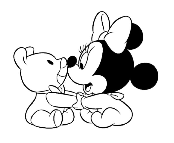 Coloring pages of baby minnie mouse