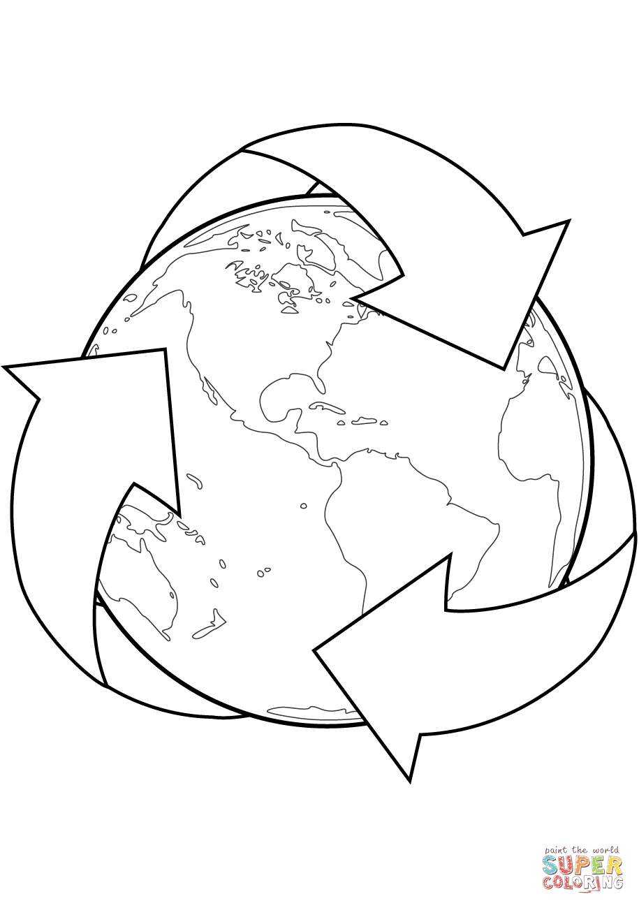 Recycle Sign With Earth Coloring Page
