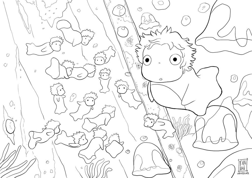 ponyo_by_fandhiwijanarko-d5wptc2.jpg (1024×724) | Coloring pages ...