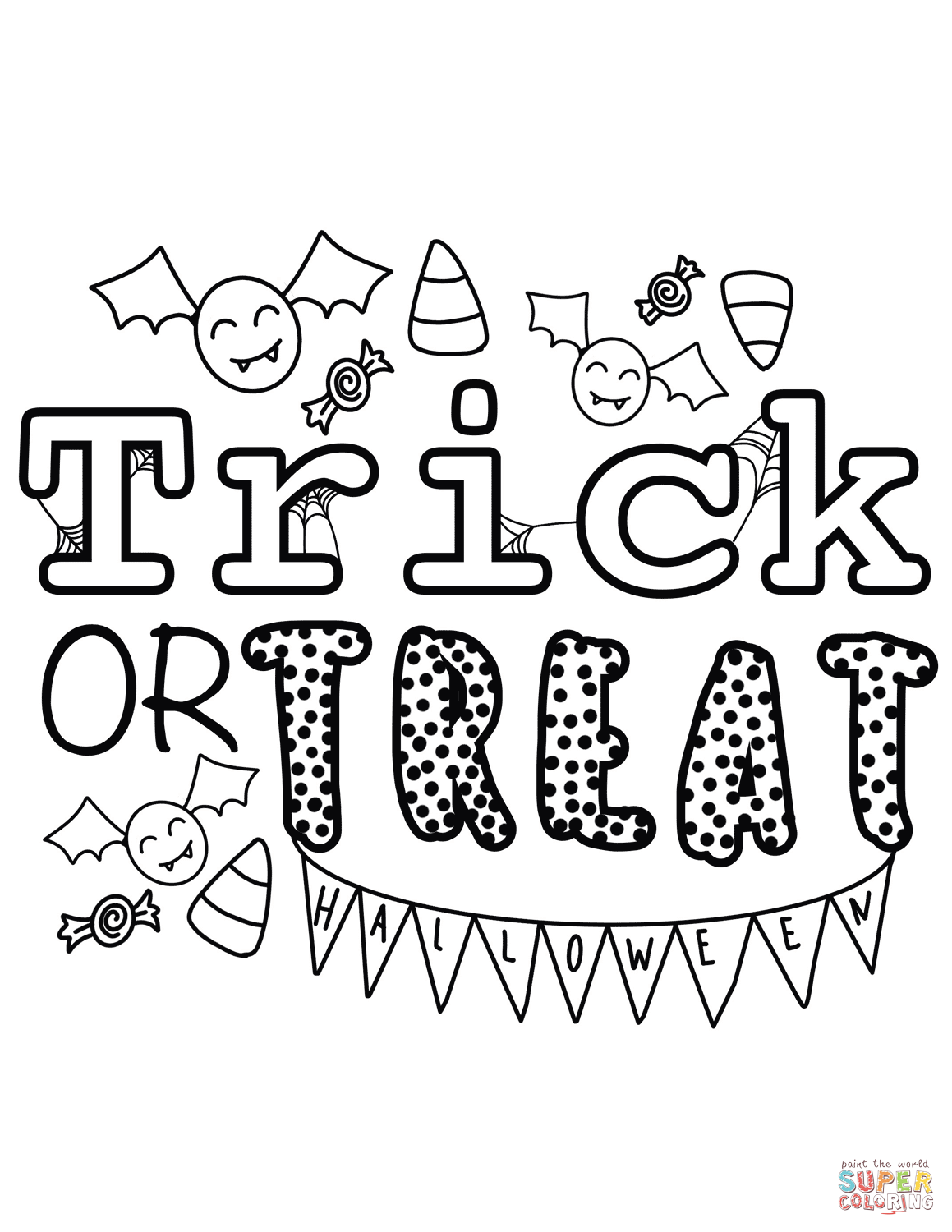 Trick Or Treat Bags Coloring Pages - Coloring Home