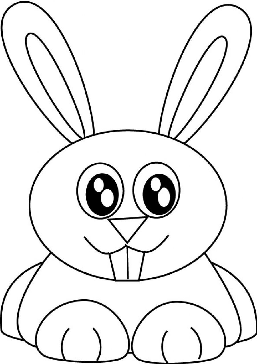 Cute Rabbit Coloring Page - Coloring Home