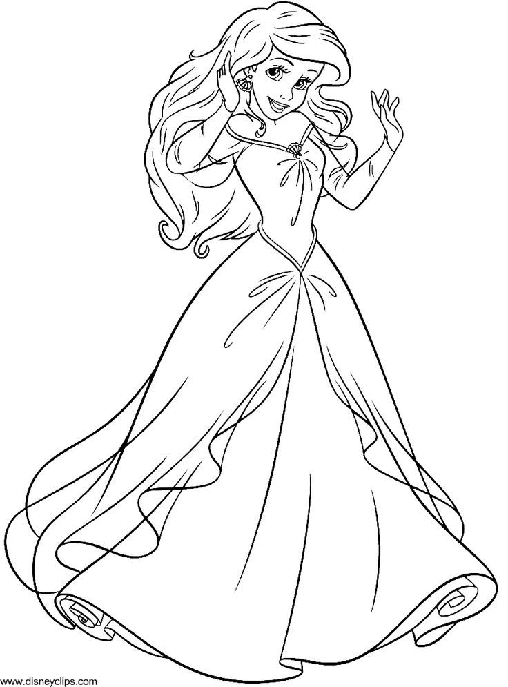 Disney Princess Coloring Pages Ariel In A Dress - Coloring Home