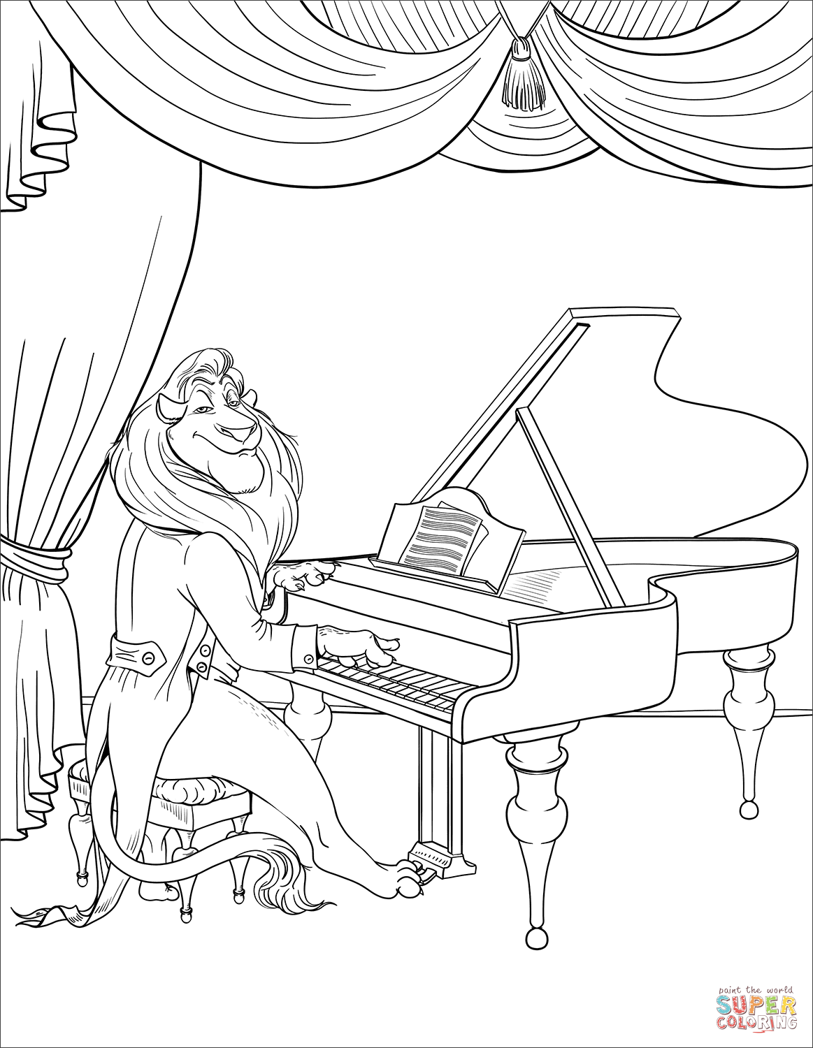 Lion Playing Piano as an Introduction coloring page | Free ...