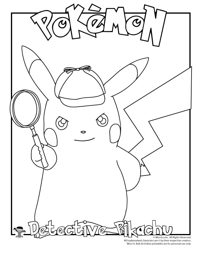 Detective Pikachu Coloring Page | Woo! Jr. Kids Activities
