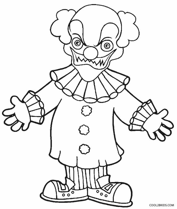evil clown halloween coloring pages - photo#26