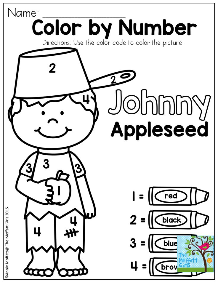 Johnny Appleseed Color by Number Coloring Pages