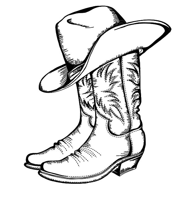 Cowboy Boots And Hat Coloring Page Coloring Home