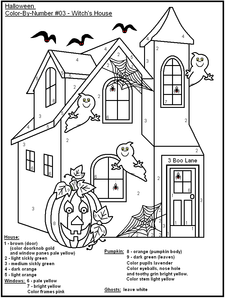 halloween color by number page