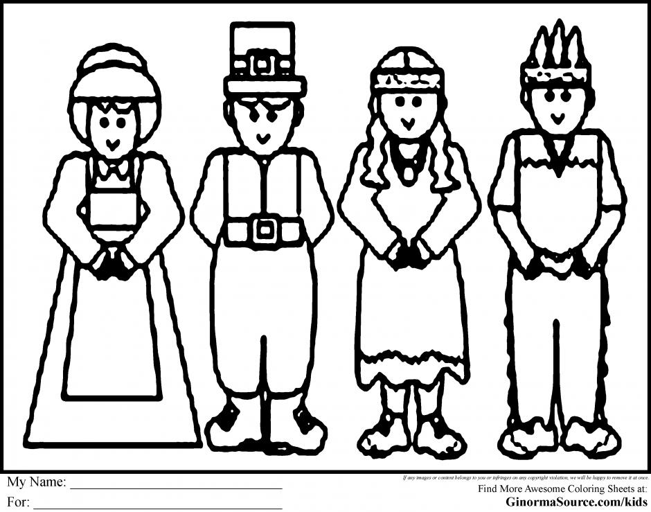 Pilgrims Praying Coloring Page - Coloring Home