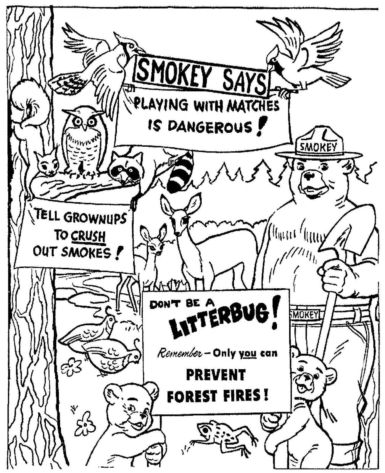 Smokey Bear Coloring Pages #4