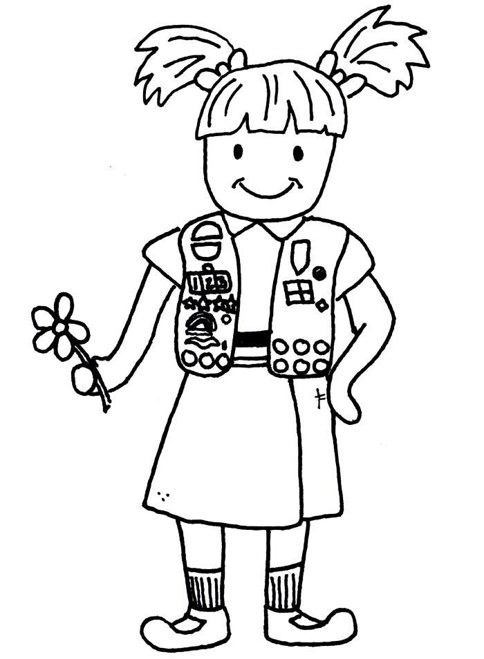 Girl Scout Daisy Black And White Clipart - Clipart Kid