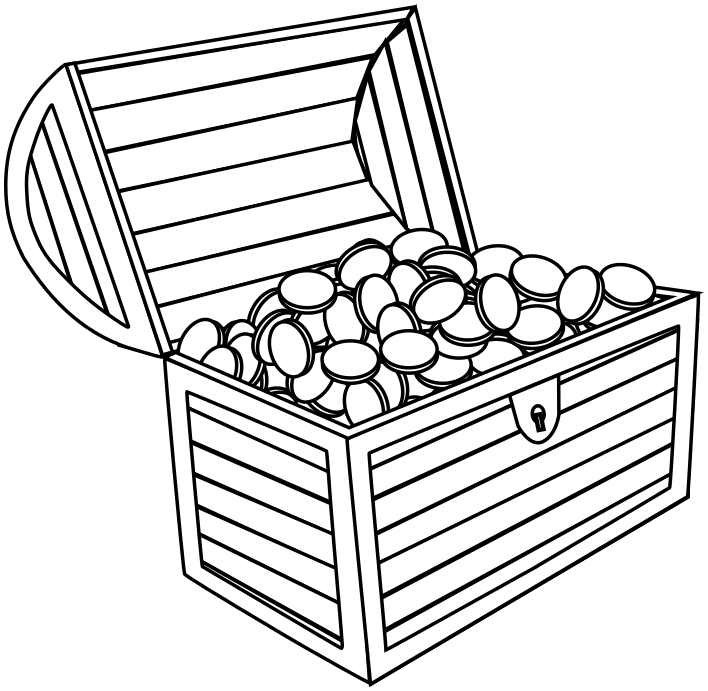 treasure chest with coins coloring page - Open Treasure Chest Coloring Page