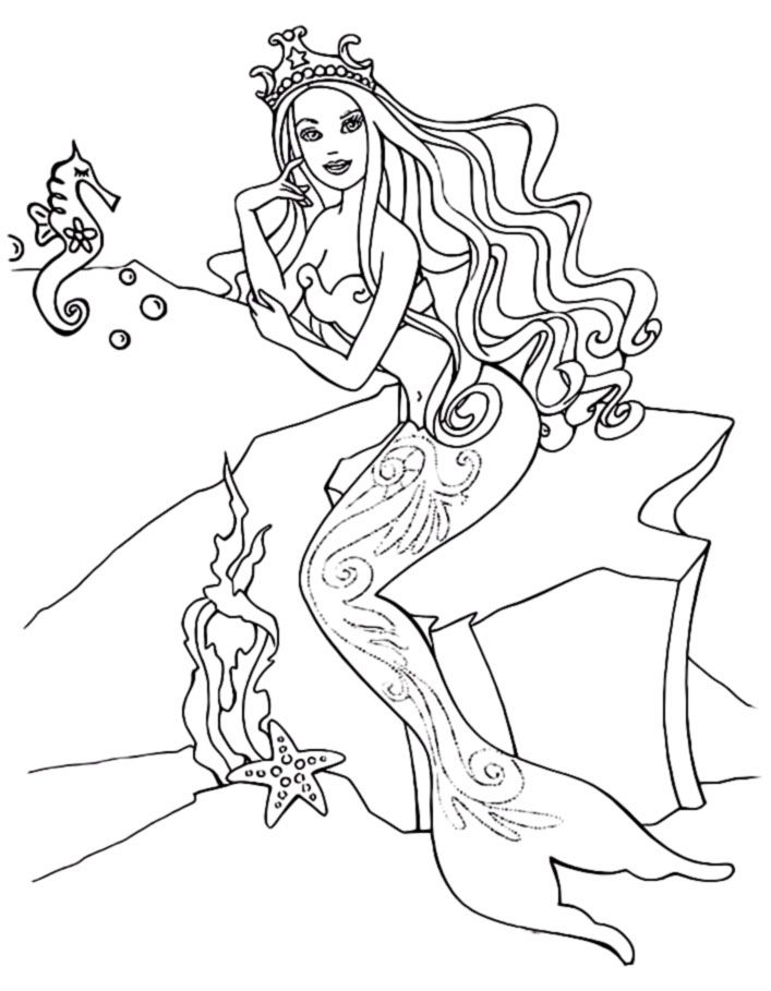 barbie mermaid free coloring pages - photo#17