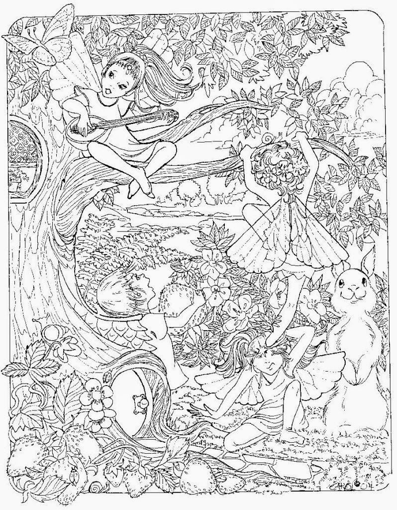 Printable Adult Fairies Coloring Pages