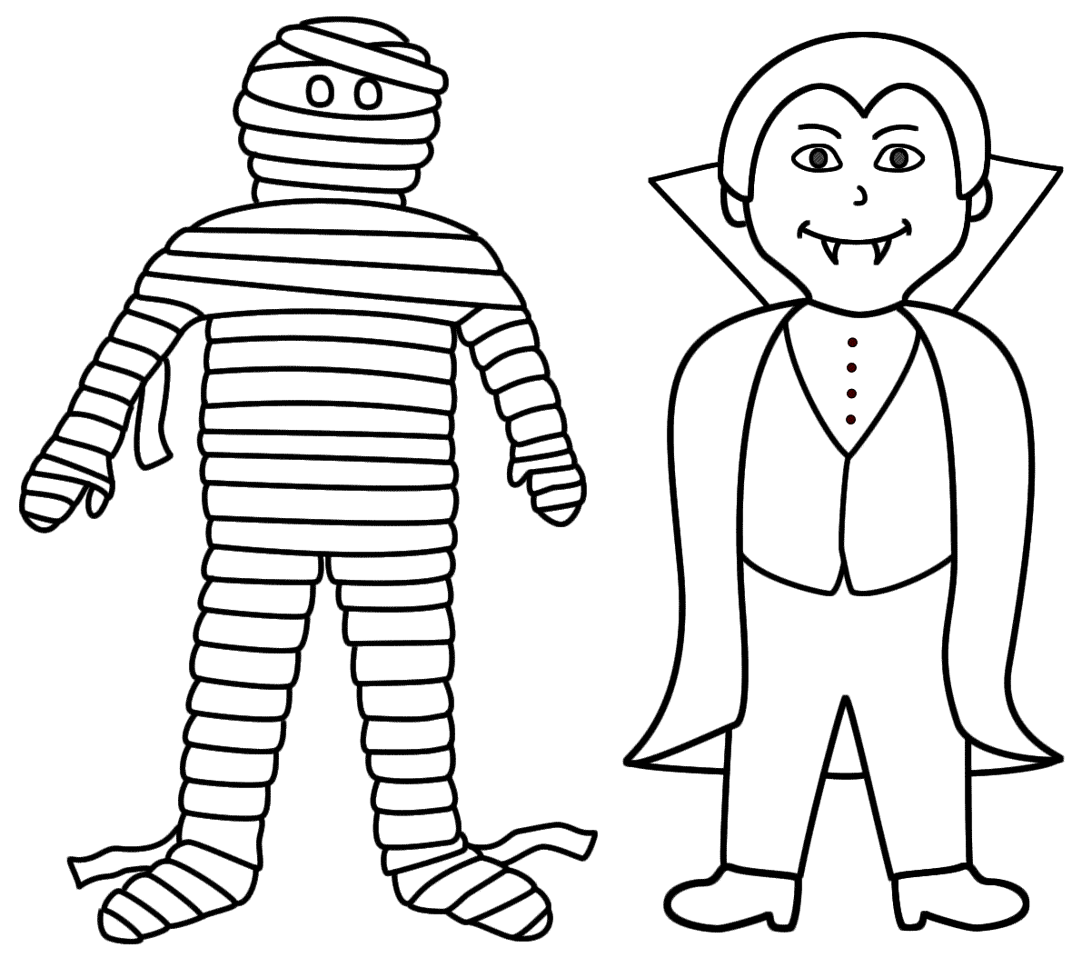 mummy with a vampire coloring page halloween