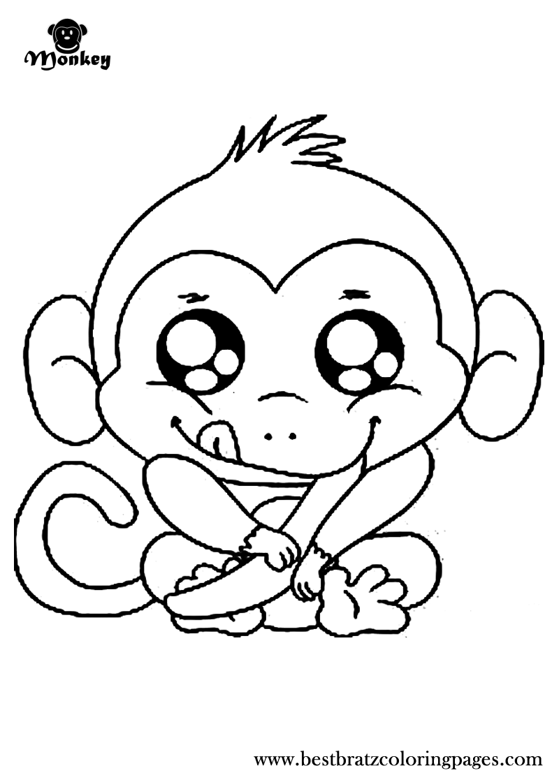 Monkey Coloring Book Page Coloring Home