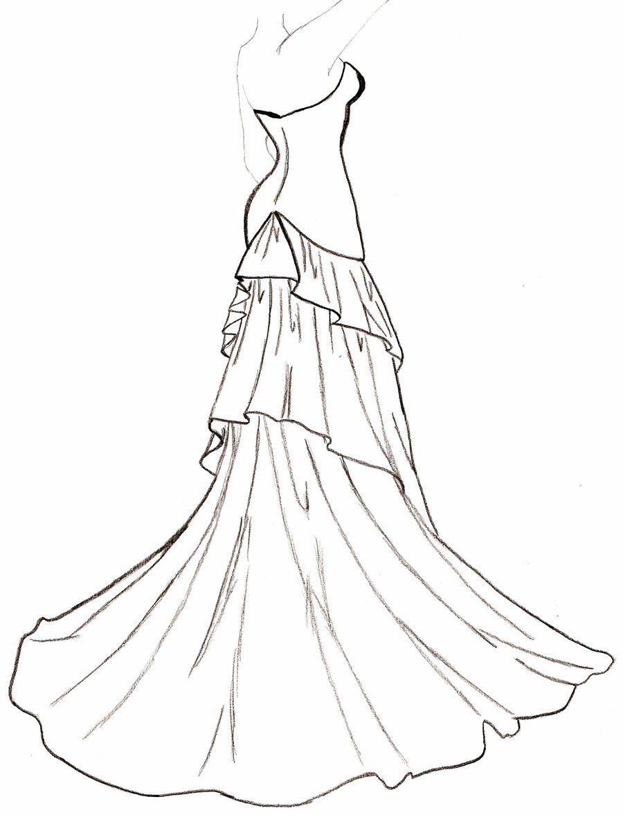 Wedding dress coloring pages coloring home for Dress coloring pages