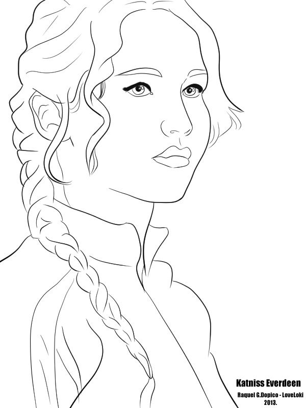 hunger games katniss coloring pages sketch coloring page