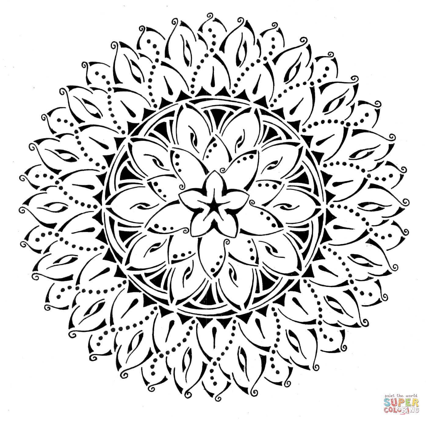 Floral Tribal Mandala coloring page | Free Printable Coloring Pages