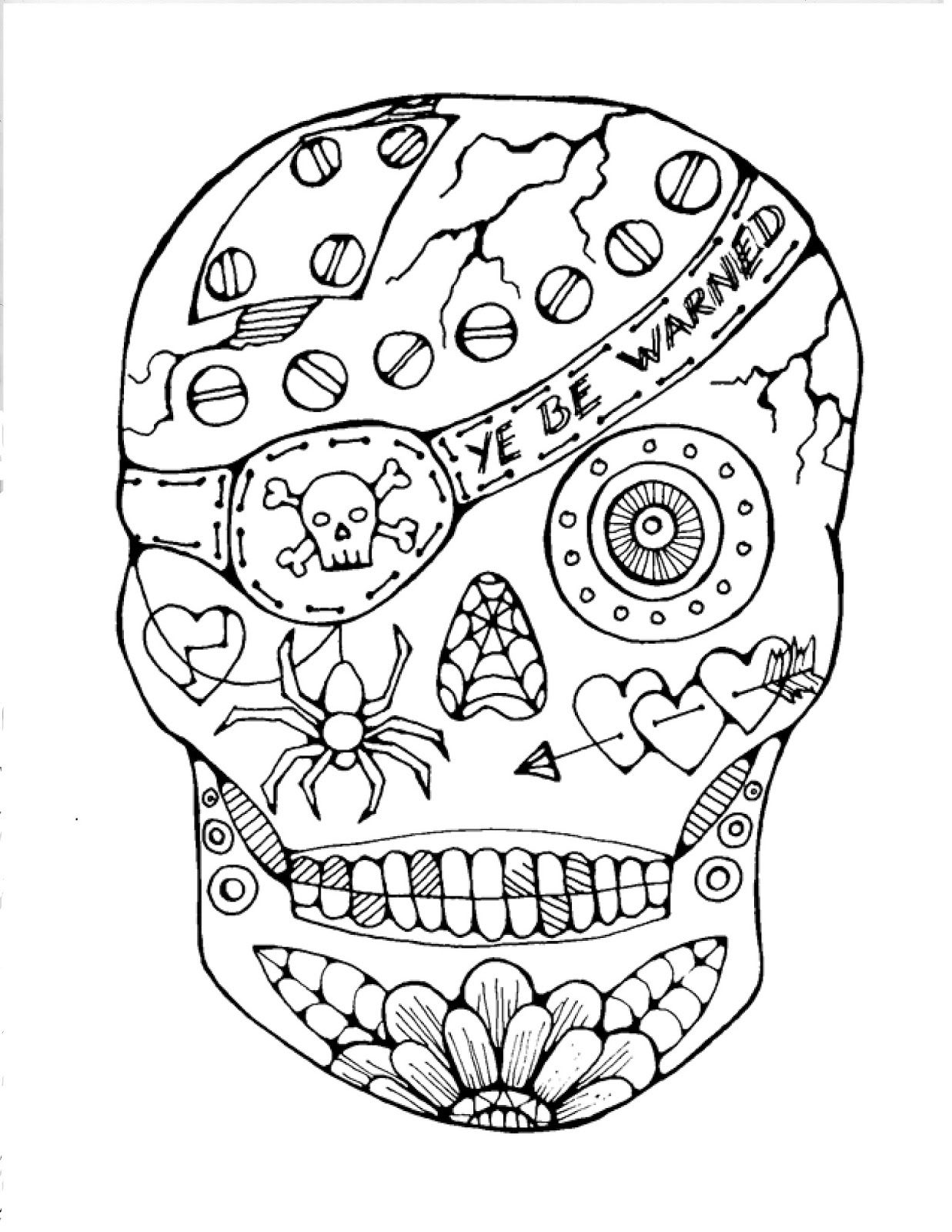 Free Printable Sugar Skull Coloring Pages AZ Coloring Pages