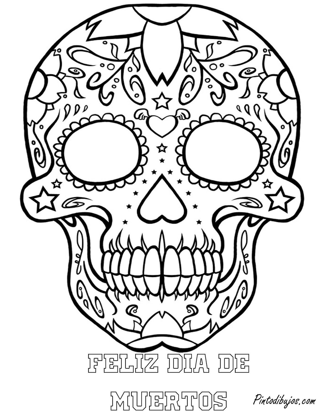 El Dia De Los Muertos Skulls Coloring Pages - Coloring Home