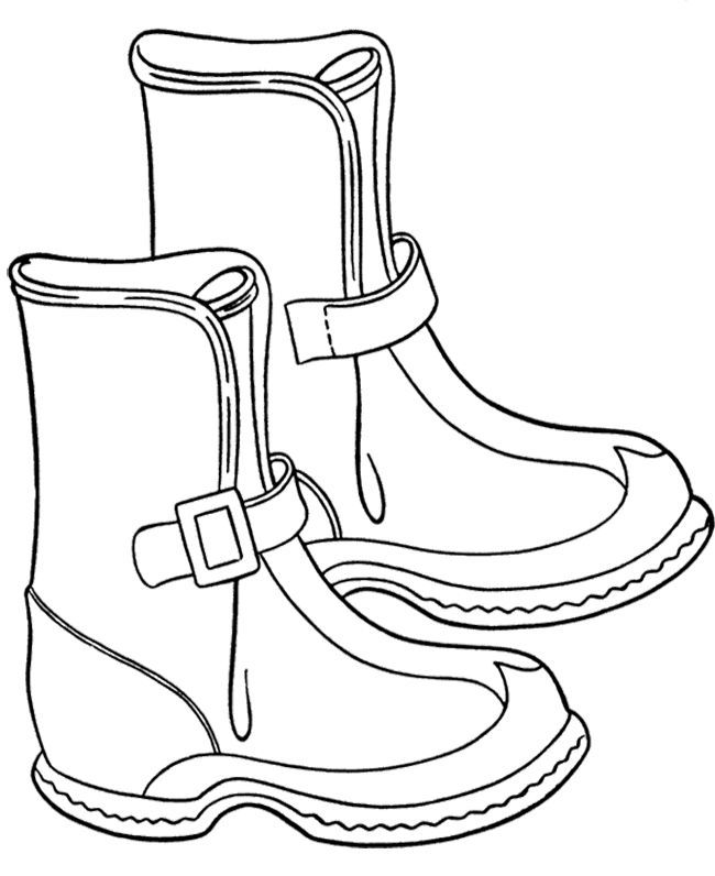 Cowboy Winter Boots Coloring Page | Winter Coloring Page ...